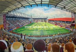 Hand Painted original of tynecastle on matchday